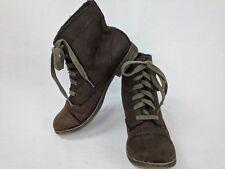ZIGIny Women's FLAT Brown ANKLE BATTLE BOOTS BOOTIES LACE UP  SZ 8