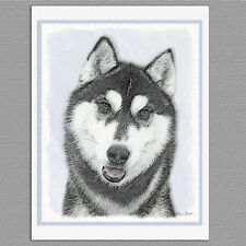 6 Siberian Husky Dog Black and White Blank Art Note Greeting Cards
