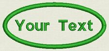 """Oval Name Tag, Patch, badge 3.5"""" x 1.65"""" Iron On or Sew On - Add your Text"""
