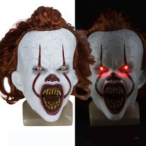 Clown Pennywise Mask Full Head Halloween Cosplay Scary LED