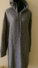 H&M new womans wool blend sweater dress hoodie long gray sz XL
