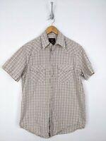 Lucky Brand Pearl Snap Shirt Men Medium White Brown Striped Western Short Sleeve