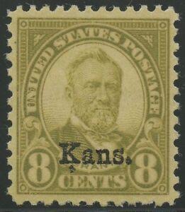 """#666 8¢ KANSAS XF-SUPERB OG NH GEM WITH PSAG GRADE """"95"""" CERT BS4856"""