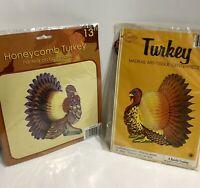 Two Vintage Turkey Art Tissue Honeycomb Centerpieces NOS Beistle Greenbriar 1983