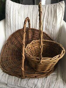 Two Matching Vintage Wicker Flower Fruit Trug Basket Decor