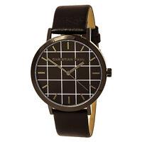 Christian Paul Men's Watch Grid Quartz Black Dial Leather Strap GR-01