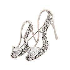 Ladies Silver Crystal Rhinestone High Heeled Princess Shoes Brooch Pin