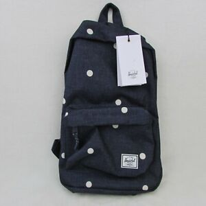 New Herschel Supply Company Blue Polka Dot Crosshatch Peacoat Canvas Backpack