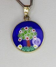 AMV Italian Sterling Silver Millefiori Art Glass Pendant Tree Design Gold Plate