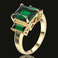 Green Emerald Wedding Band Ring 18K Yellow Gold Filled Valentines Gift Size 6