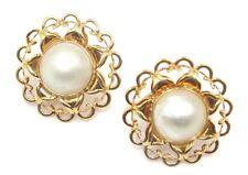 Mabe Pearl White Earrings,14k Yellow Gold Omega Backs
