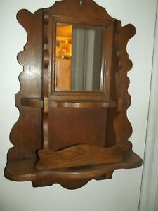 RARE Antique Victorian Oak Wall Hanging Mirror w/ Comb Case Shelf