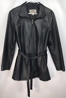 Women's LARGE - Sonoma Black Leather Full Zip Belted Jacket Slim Fit Coat Belt