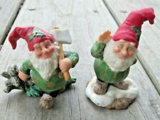Pair 1993 Fitz and Floyd Holiday Hamlet Gathering Pine Boughs Waving Elf Gnome