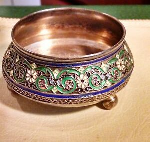 IMPERIAL RUSSIAN SILVER & ENAMELED SALT BY PAVEL OVCHINNIKOV 1883-86 BEAUTIFUL