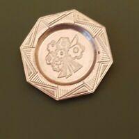 Dollhouse miniature vintage sterling silver Art Deco Period plate,  1:12