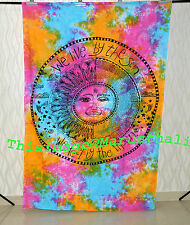 Blind Sun Moon Tapestry Psychedelic Wall Hanging Hand Brush Hippie Indian Decor