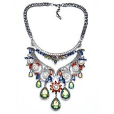 Fashion Z Brand Luxury Bijoux Crystal Statement Necklace Collar Rhinestone red