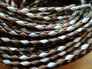 """Bolo Cord 36"""" Brown, Tan and White Leatherette (pkg 12) 0878 3.5mm thick"""