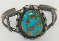 Wow! Navajo Ladies Royston Turquoise Bracelet Cuff Sterling Silver 37g Old Pawn