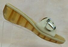 Sesto Meucci Tan Leather Buckle Slide Wedge Sandals Clear Sole Women's 9.5 M