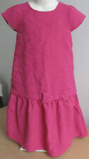New H&M Girls Floral Print Dark Pink Birthday Dress Bow Cap Sleeves Sz 6-7Y NWT
