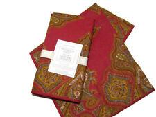 Williams Sonoma Red Engineered Paisley Cotton Dinner Napkins Set of 4 New
