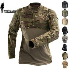 Army Tactical Mens Combat T-Shirt Long Sleeve Casual Pullover Shirt Camouflage