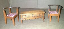 Dollhouse Miniature Wooden 2 Corner Chairs Sofa Stand 2 1/2  Does Not Open