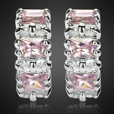 Sale! Lady Gift Emerald Cut Pink Sapphire Hoop 18K White Gold Plated Gp Earrings