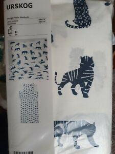 Ikea Urskog 150x200cm kids bedding set duvet pillowcase cover tiger white navy
