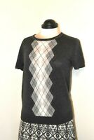 Beautiful Cue Grey Short Sleeved Sweater Argyle Pattern Front Size 12 Brand New