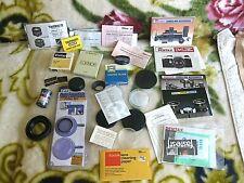 Vtg Mixed Lot Camera Lens Caps Front RearTamron etc. & manuals, hood, 1 filter