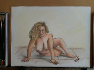 Original 8.5x11 Colored Pencil Drawing Of Nude Woman Done By ARTuro