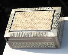 Wooden Mother Of Pearl Inlay Ornate Antique Vintage Jewellery Box Container