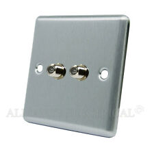 Brushed Satin Chrome Classical 2G SKY / Satellite Socket  - CSC2GSKY