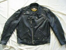 Harley Davidson Motorcycle Leather Jacket Black Shovelhead Biker USA Made Mens L