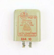 Vintage UTC MQE-9 Torrid Inductor 0.25Hy 43 Ohm 1V 1KC 0DC 350VDC Max to Case