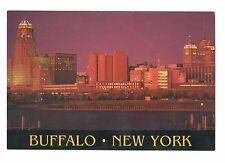 Buffalo New York Skyline At Night Vintage 4x6 Postcard Feb17