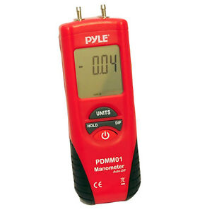 Pyle PDMM01 Digital Manometer W/ 11 Units of Measure 9V Battery & Carry Case
