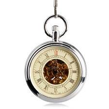 Men's Retro Automatic Mechanical Silver Steampunk Chain Pendant Pocket Watch