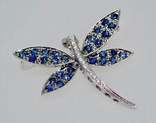 Diamond Dragonfly Bug Vintage Pin Brooch 18k White Gold Blue Sapphire &