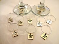 10 x thank you wine glass charms for weddings favours top table decorations