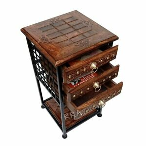 WOODEN BEDSIDE TABLE FOR BEDROOM / NIGHT STAND TABLE WITH 3 DRAWERS STORAGE