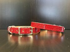 UNIQUE Chihuahua Yorkshire Terrier Pomeranian Puppy Leather Collar RED BUBBLE