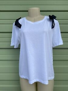 New ZARA white Woman t-shirt with bows and beads short sleeve Size L #6056A