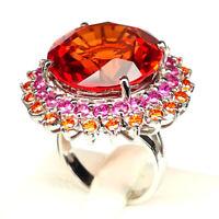 Sapphire Orange Ring Size 6 Round 32.40 Ct. 925 Sterling Silver Fine Gift Women