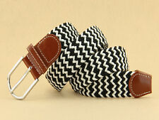 Mens Elasticated Fabric Woven Braided Stretch Webbed Belt PU Leather Buckle