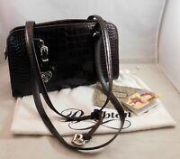 Brighton Alesha Shoulder Bag Brown Moc Croc Leather Purse Duster Bag Included
