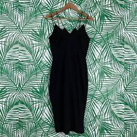 Keepsake The Label Black Strappy Slit Midi Dress Women's Size Medium